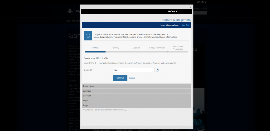 PlayStation®Store US account management 1