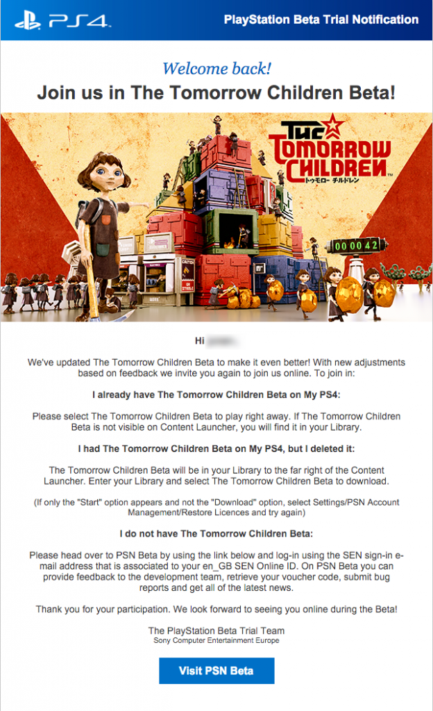 The Tomorrow Children Beta Notification – Beta Has Been Extended