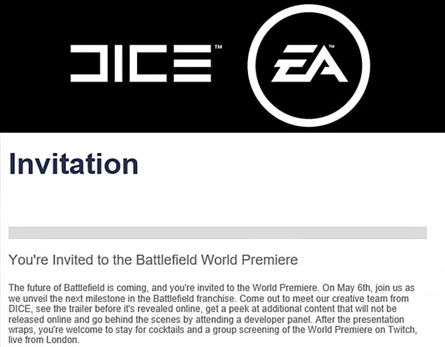 invitation world premiere Battlefield 5