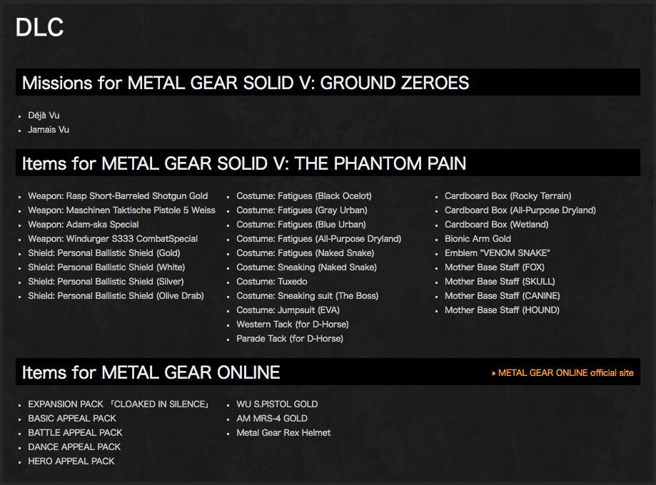 DLC Metal Gear Solid V The definitive edition