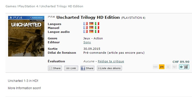 Uncharted trilogy HD PS4 CeDe
