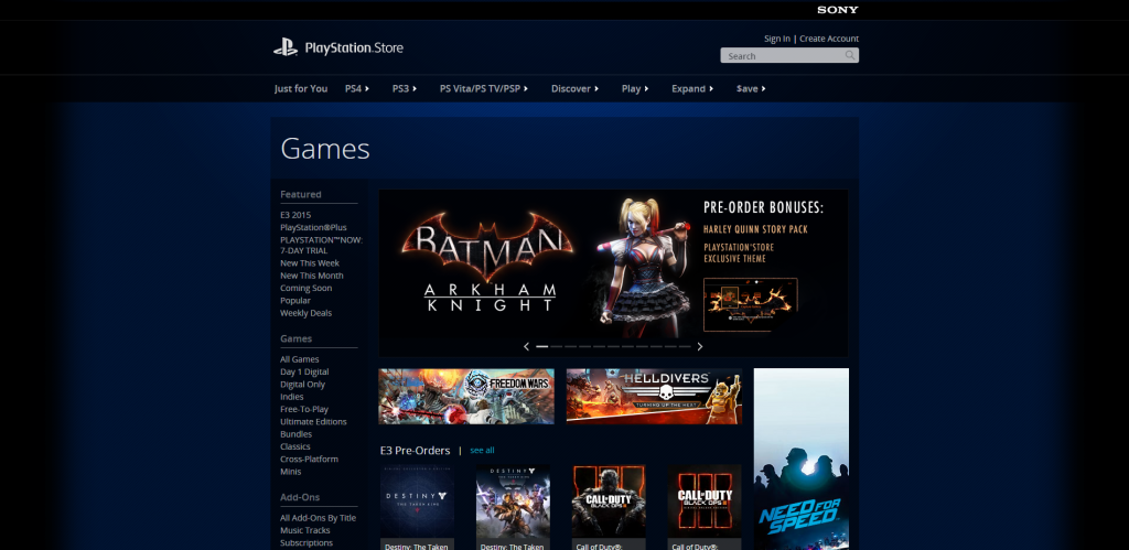 PlayStation®Store US page d'accueil