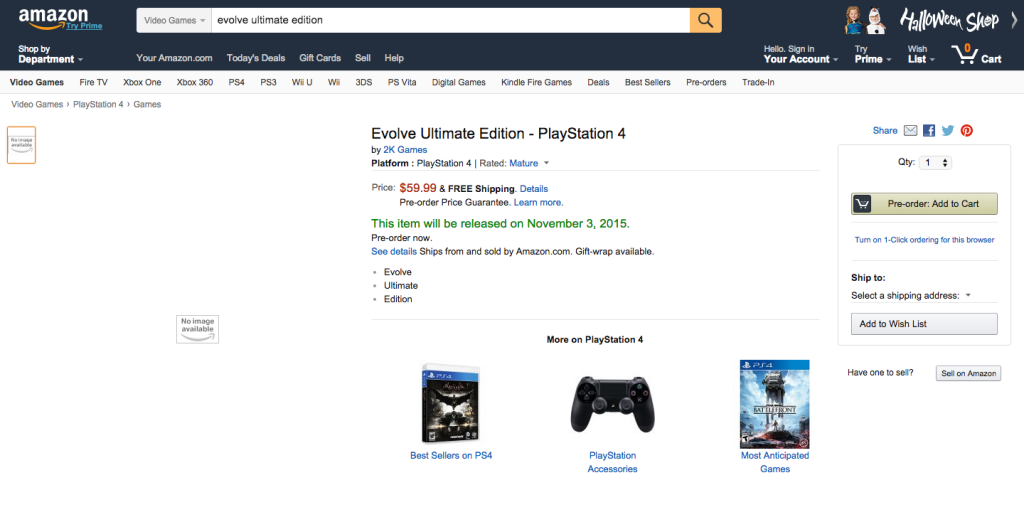 Evolve Ultimate Edition amazon listing