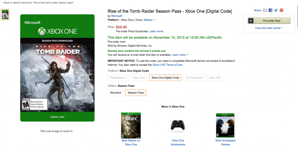 Rise of the tomb raider season pass amazon listing