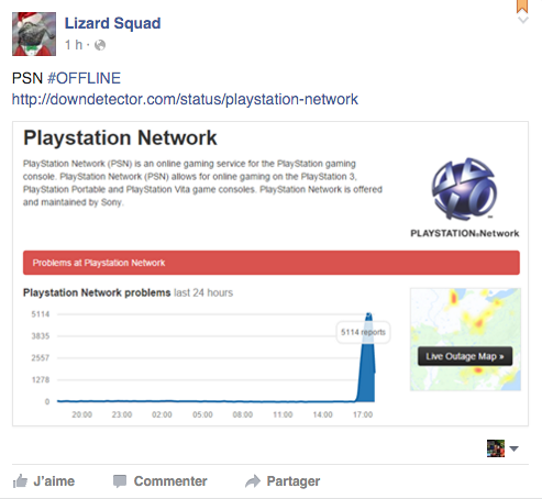 Lizard squad facebook psn down