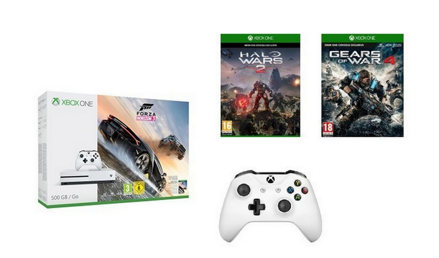 Bon Plan | Console Xbox One S + Forza Horizon 3 + Halo Wars 2 + Gears of War 4 + 2ème manette à 250€