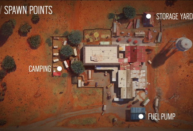 Trois points de spawns sur la map Outback
